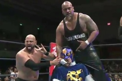SHOT DOWN: Bad Luck Fale takes out Captain New Japan in Osaka. PHOTO: New Japan Pro-Wrestling