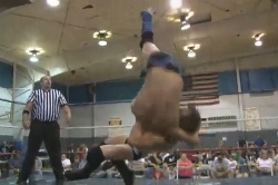 NEW TRICKS: Travis Banks beat Aaron Williams with a fisherman brainbuster at Destination One Wrestling. PHOTO: Highspots