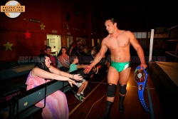 CHAMPION: Jade Diamond celebrates his tag team title victory in Queensland. PHOTO: Just Julie. Just Wrestling.