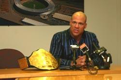 World Heavyweight Champion Kurt Angle at the press conference in Wellington.