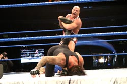 Angle yells at The Undertaker to 'tap' in Wellington, Saturday.