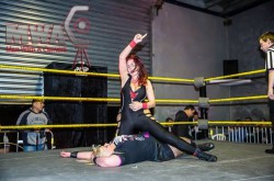 VICTORIOUS: Scarlett overcame Vixsin to retain the KPW Women's Championship. PHOTO: Steve Bradford/Man With A Camera