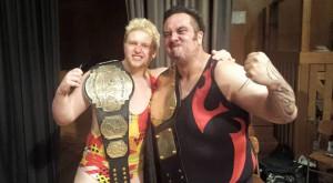 UNITED: IPW Champion James Shaw congratulates new NZWPW Champion Ben Mana on his title win. PHOTO: Supplied