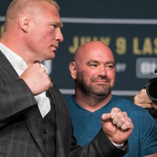 FACE OFF: Brock Lesnar stares down Mark Hunt during a press conference for the UFC 200 pay-per-view held earlier today in Las Vegas. PHOTO: UFC