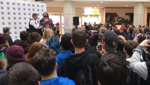 STYLES SPEAKS: Dion McCracken interviews AJ Styles at Westfield St Lukes on Wednesday. PHOTO: WWE Australia